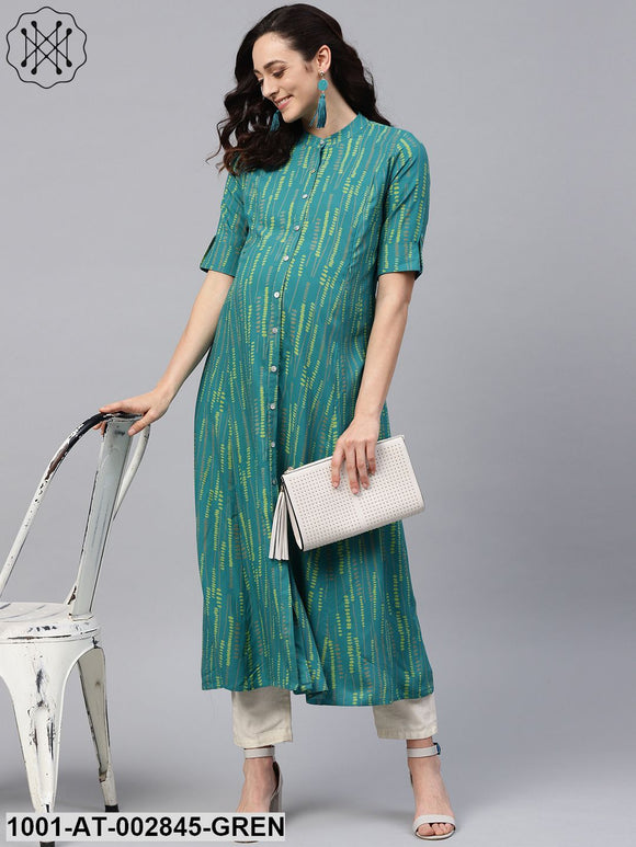 Blue & Green Printed A-Line Maternity Kurta