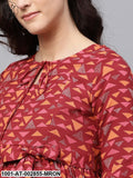 Maroon Printed Pleated Maternity Kurta
