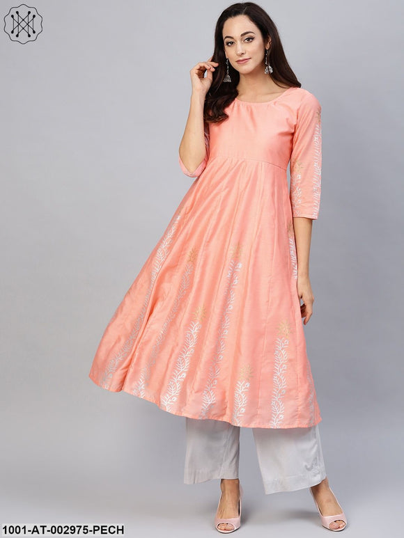 Peach Anarkali Block Printed Kurta