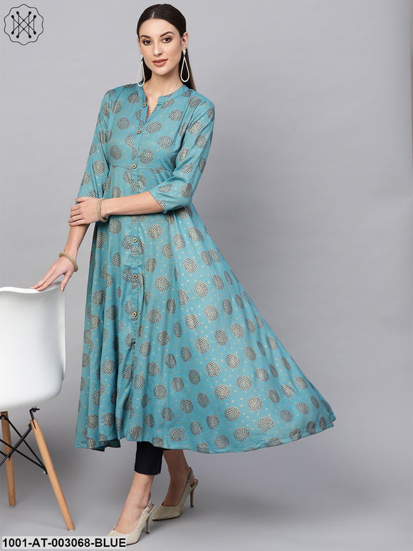 Blue Gold Printed Kurta