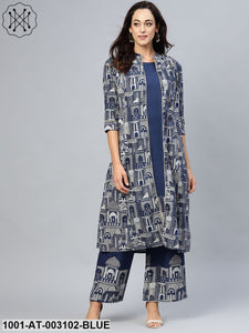 Blue Hawa Mahal Kurta with Jacket