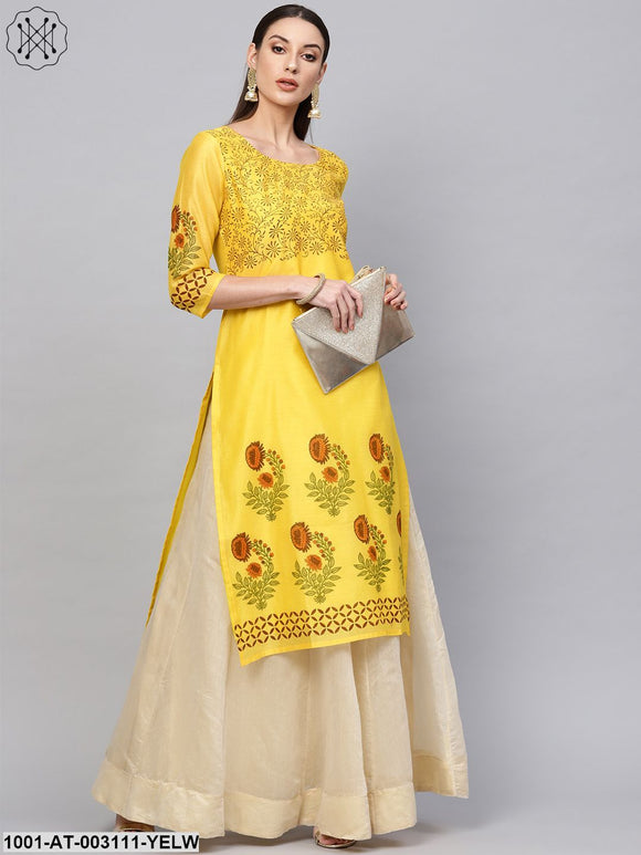 Yellow block printed staright kurta