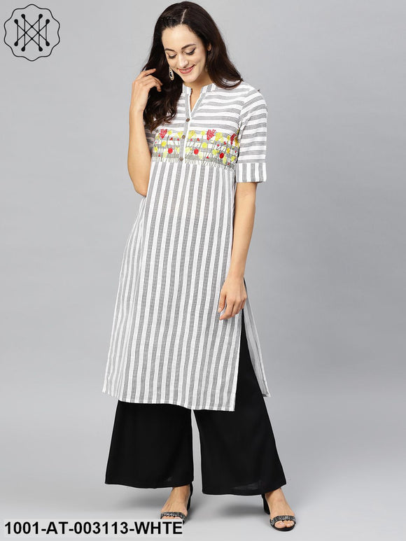 White and black striped embroidered straight kurta