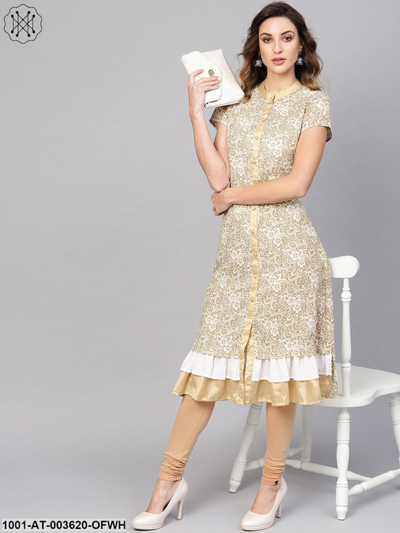 Off-white & Gold Frilled A-Line Kurta With Gold Detail