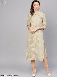 Off-white & Gold Princess Cut Straight Kurta With Gold Detailing