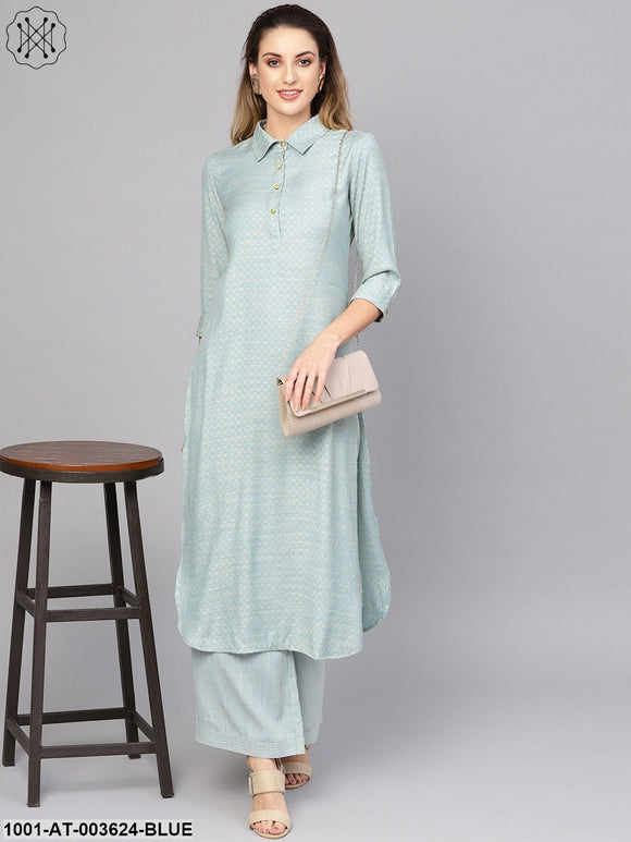 Blue Self Designed Straight Kurta