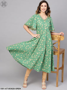 Green Printed Kurta With Lace Detailing