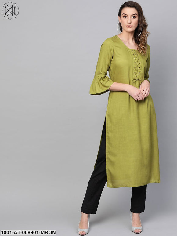 Lemon Green Straight Kurta With Flutter Sleeve