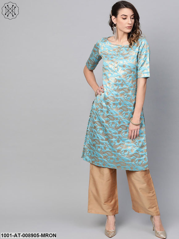 Blue Gold Self Designed Straight Kurta