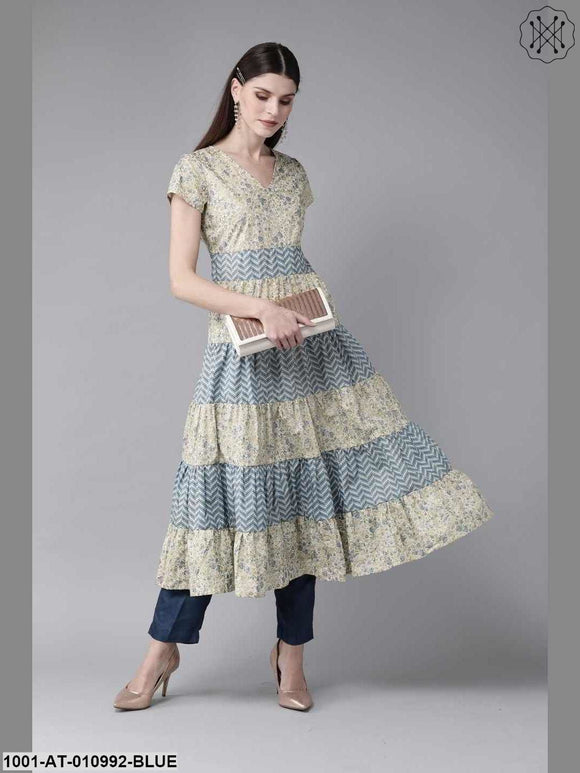 Blue And Off-White Anarkali