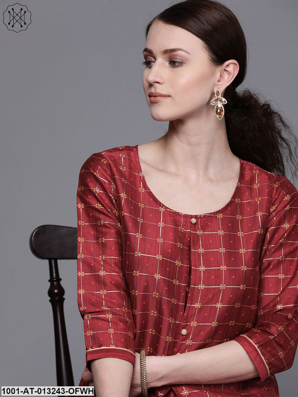Double Layered Maroon Kurta