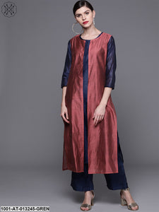 Blue And Burgundy Kurta With Jacket
