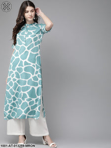 Blue Giraffe Printed Straight Kurta