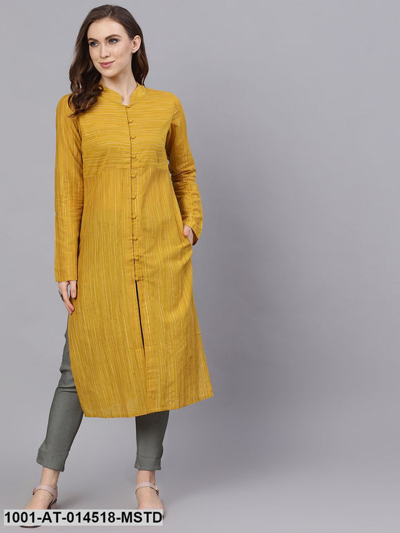 Mustard Self Design Button Down Kurta