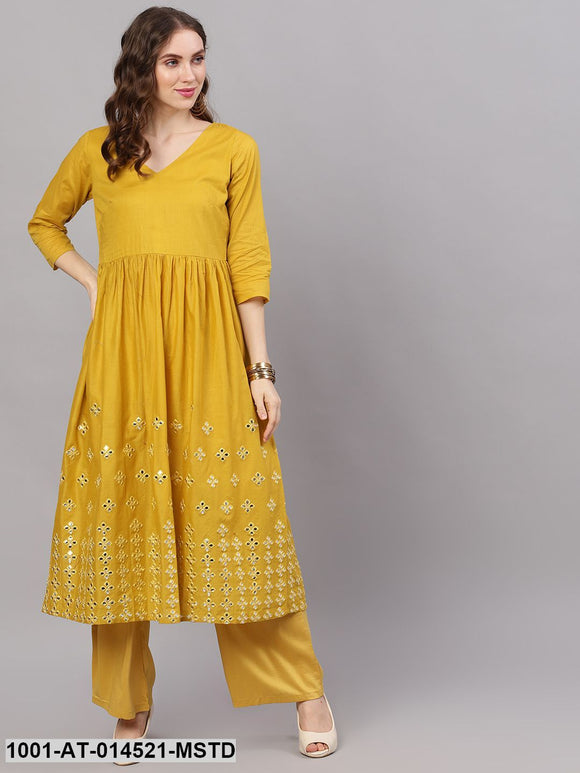 Mustard Mirror Work Pleated Kurta