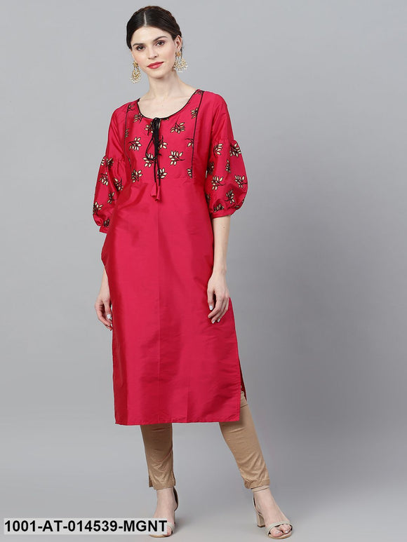 Magenta & Black Flock Design Straight Kurta
