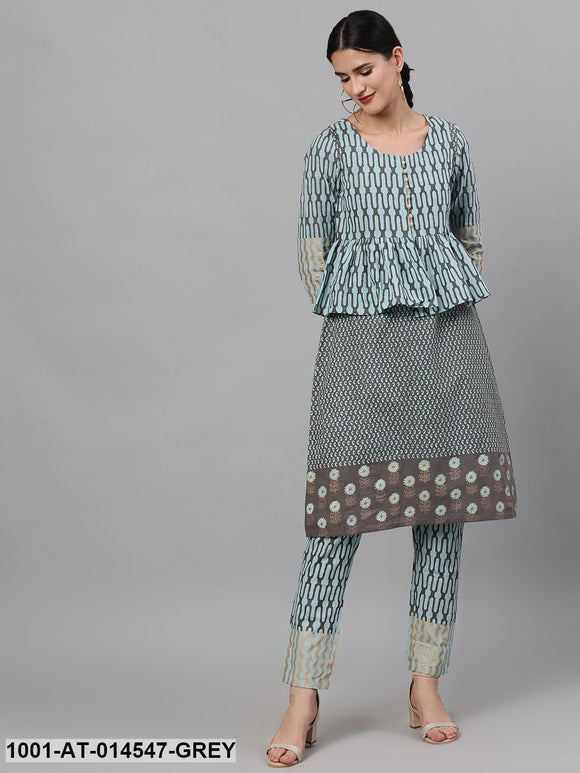 Grey & Blue Gold Printed Straight Kurta With Jacket