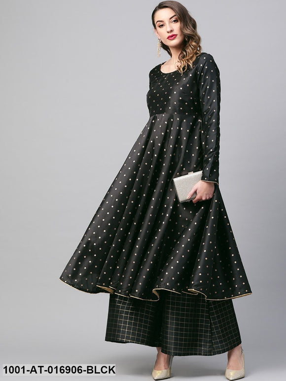 Black self designed anarkali kurta