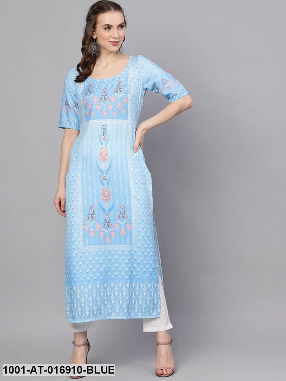 Aqua Blue Digital Print Kurta