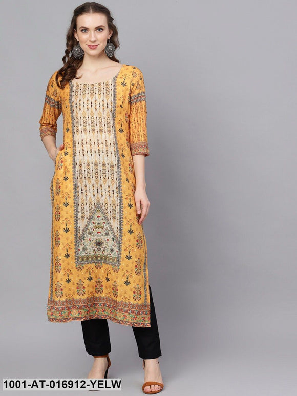 Yellow Digital Print Straight Kurta