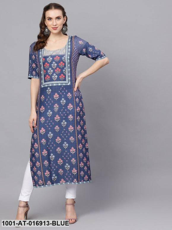Blue & Red Gigital Printed Kurta