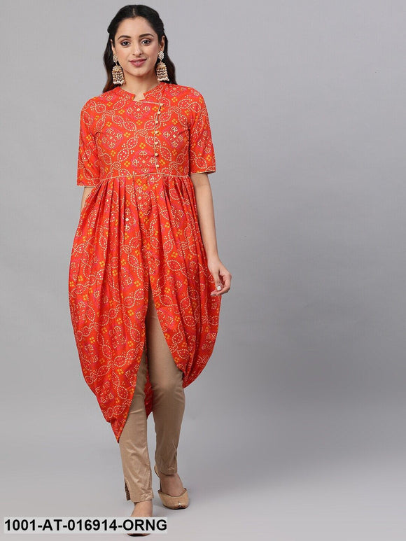 Orange & Gold Bandhani Printed Dhoti Design Kurta