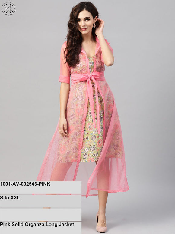 Pink Solid Organza Long Jacket