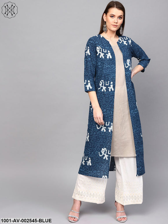 Indigo & White Block Printed Long Jacket