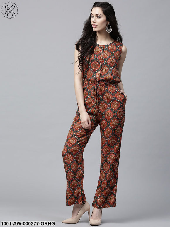 Orange & Green Printed Sleeveles Jumpsuit