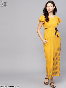 Yellow Block Printed Sleeveless Dress