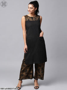 Black & Olive Printed Sleeveless Kurta With Palazzo Set