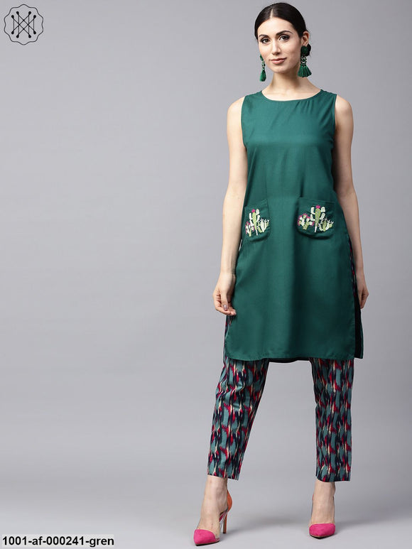 Green Embroidered Kurta With Printed Pant
