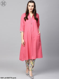 Pink A-Line Kurta With Pant Set