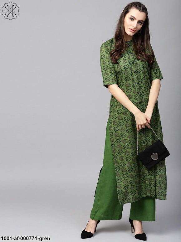 Green Printed Button Down Kurta With Solid Palazzo Set