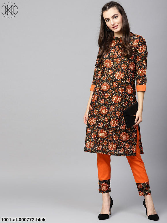 Black Floral Printed Straight Kurta With Orange Solid Palazzo