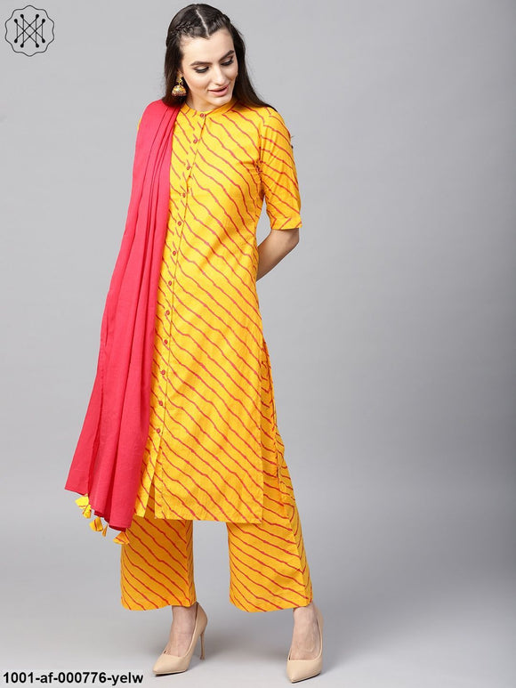 Yellow & Orange Leheriya Printed Kurta With Palazzo & Dupatta