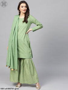 Mint Green Gold Printed Kurta With Sharara & Dupatta Set