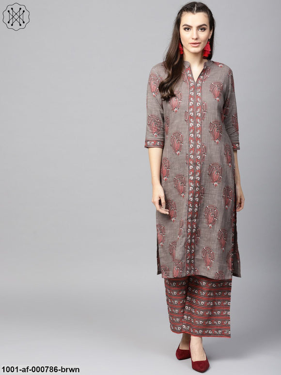 Light Brown & Pink Floral Printed Kurta With Palazzo Set