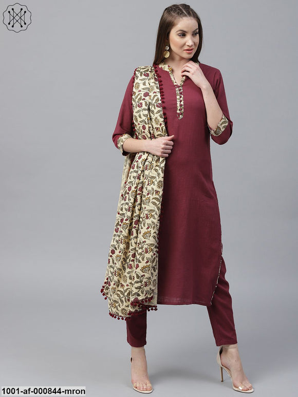 Maroon Solid Straight Kurta With Palazzo & Printed Dupatta Set