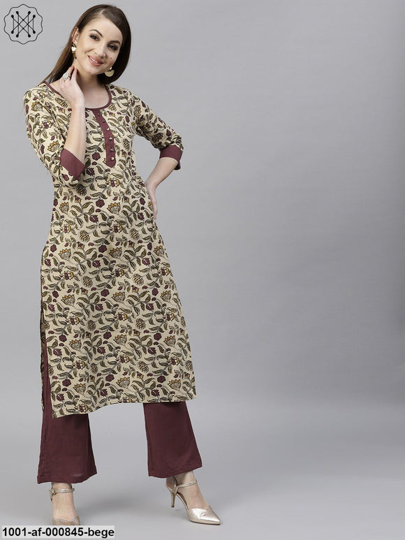 Beige Floral Printed Kurta With Maroon Solid Palazzo Set