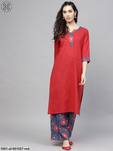 Red Solid Straight Kurta With Printed Palazzo Set
