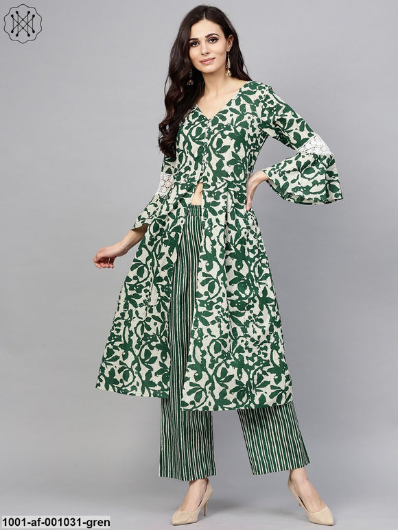 Green & White Floral Printed A-Line Kurta With Palazzo Set