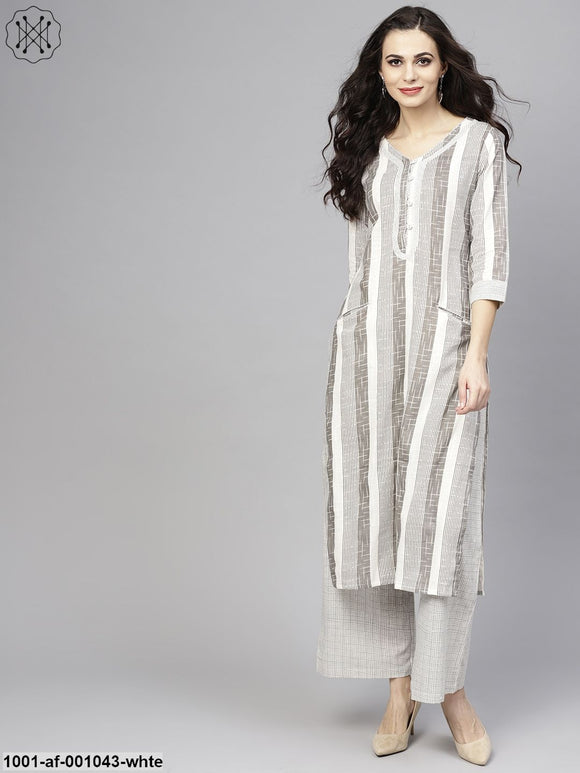 White & Black Yarn Dye Kurta With Palazzo Set