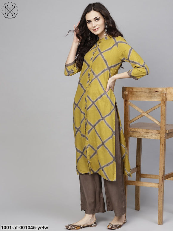 Yellow & Olive Button Down Kurta With Palazzo Set