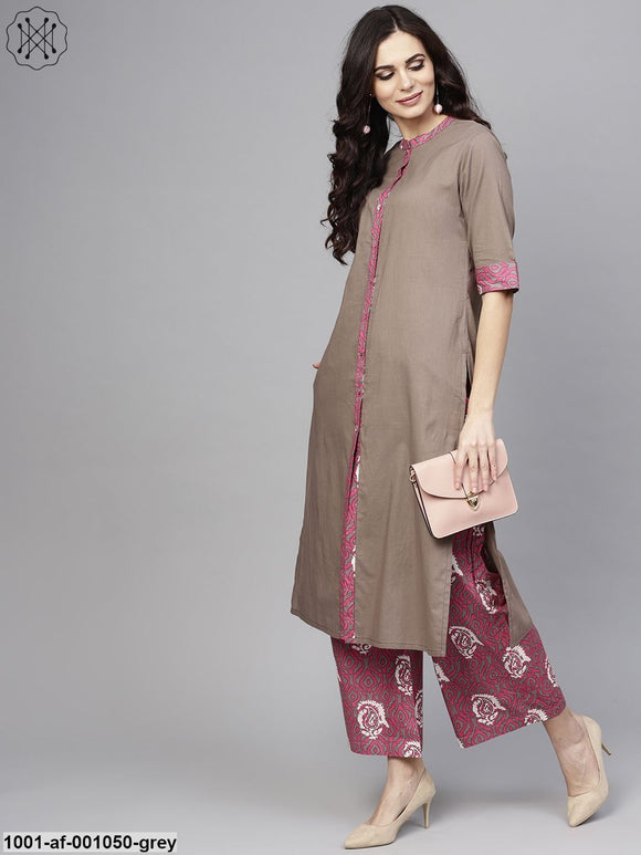 Grey & Pink Printed Button Down Kurta With Palazzo Set