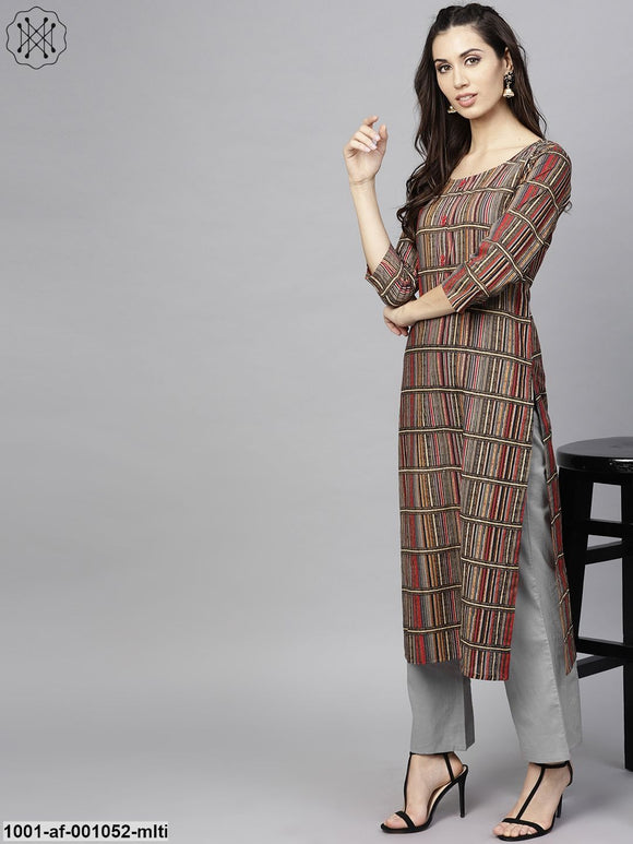 Multicolored Printed Straight Kurta With Pant Set