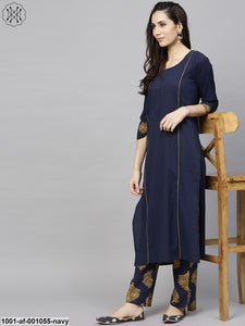 Navy Blue Solid Kurta With Printed Pant Set