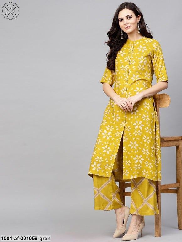 Green & Beige Printed Button Down Kurta With Palazzo Set