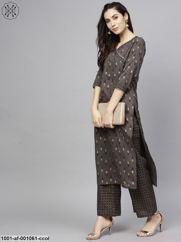 Charcoal & Gold Printed Straight Kurta With Palazzo Set