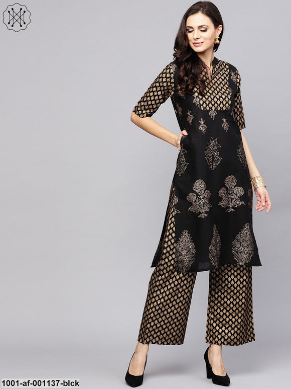 Black Gold Printed Straight Kurta With Palazzo Set